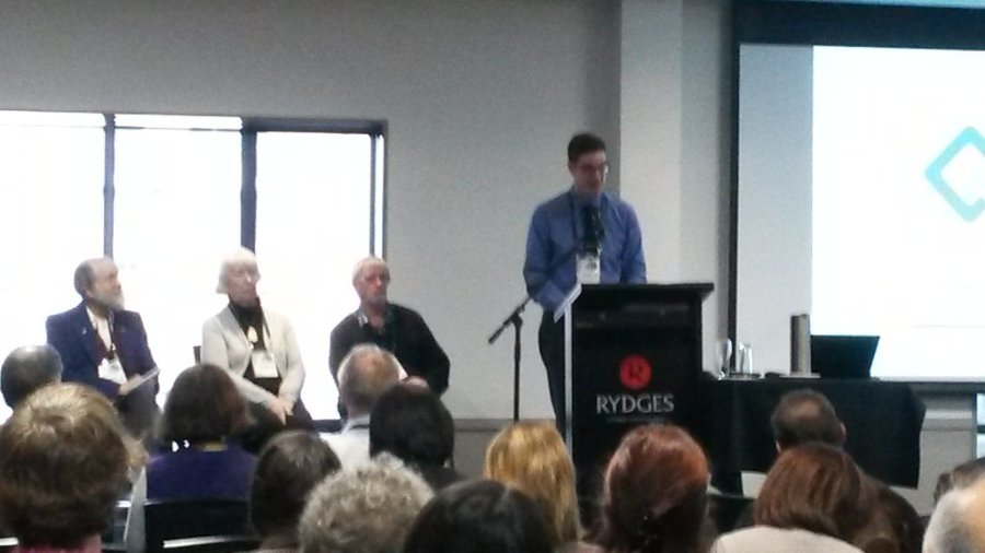 Photo of Stefan Grand-Meyer speaking at the NZSTI Conference